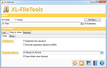 XL-FileTools Main Window - Copy or move