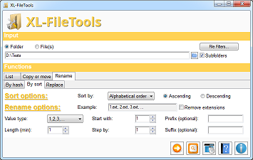 XL-FileTools Main Window - Rename