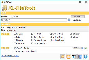 XL-FileTools Main Window