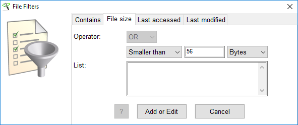 XL-Parser - Select File Filters Window