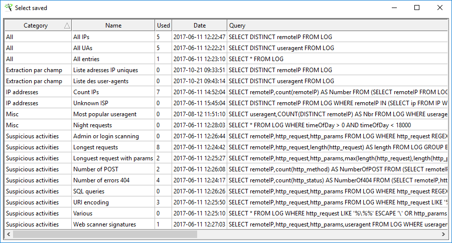 XL-Parser - Log Analysis - Database - Query Database - Saved queries