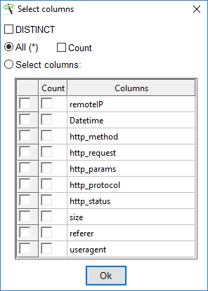XL-Parser - Log Analysis - Database - Query Database - Select Columns 