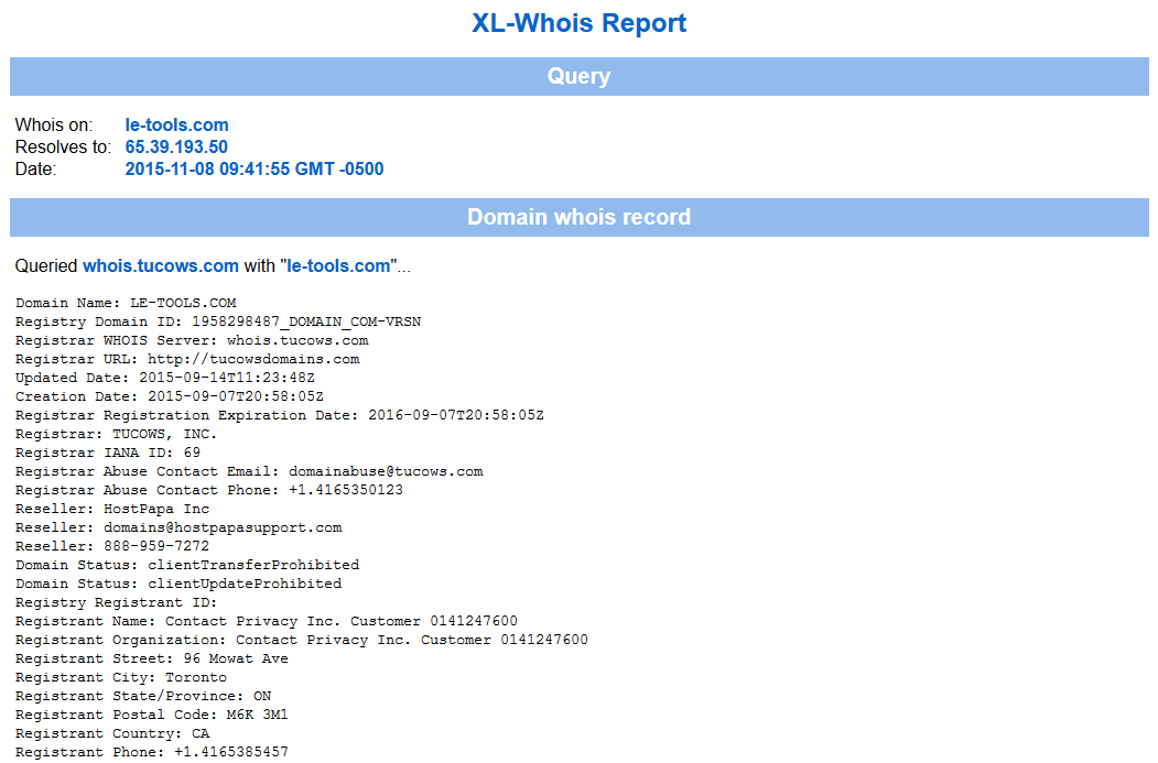 Xl-Whois Report