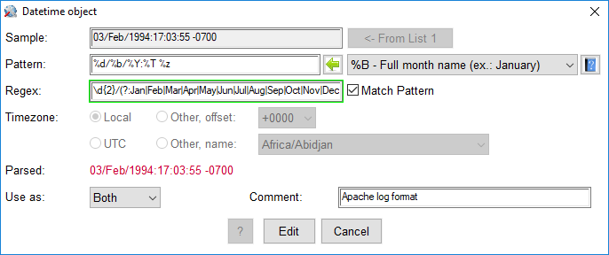 Datetime Database - Edit