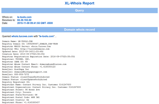 XL-Whois Report Sample
